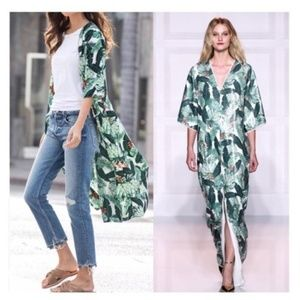 Rachel Zoe Palm Print Duster Kimono One Size
